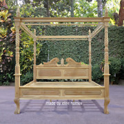 100 Solid Teak Wood 6and039 Super King Four Poster Canopy Chippendale Queen Anne Bed