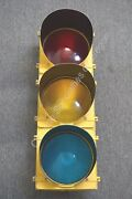Vintage Crouse Hinds 3 Way Traffic Light Signal Stop 11 Lenses W/ Visors Wired