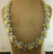 925 Sterling Silver Yellow Radiant White Pear Flower Matinee Tennis Necklace