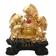 5 Golden Fishes With Money Pot Statue
