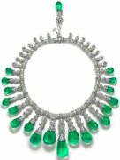 925 Sterling Silver Necklace Shell Pearl Green Pear Cocktail Statement Royal
