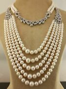 925 Sterling Silver Shell Pearl White Round Princes Cocktail Necklace Choker Roy