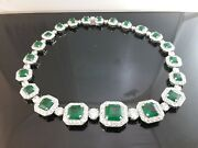 925 Sterling Silver Necklace Green Asscher White Round Halo Cocktail