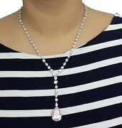 925 Sterling Silver Necklace Fancy Pink Pear White Round Anniversary Gift Mag