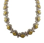 925 Sterling Silver Necklace Yellow Radiant White Pear Flower Matinee Tennis Roy