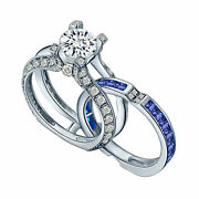 La Cathedrale Style Round Cut White And Blue Cubic Zirconia Women's Wedding Ring