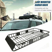 64 Universal Steel Roof Rack Cargo Carrier W/ Extension Luggage Hold Basket Suv