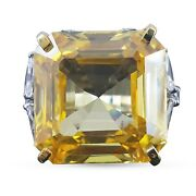 925 Sterling Silver Ring Yellow Asscher White Marquise Round Shank Cz-andagrave La Carte