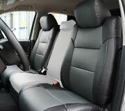 Toyota Tundra 2014-2021 Black/charcoal S.leather Custom Made 2 Front Seat Covers