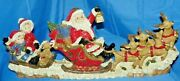 Santa On Sleigh W/ Reindeer W/ Sled And Children Dog And Teddy Bear Statue. L@@k