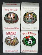 Disney 1980's Schmid Mickey Mouse And Friends Glass Ornaments