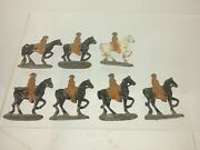 Set Of 7 Authentic Barclay Manoil Lead Toy Soldier Native American On Horseback