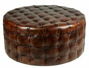 36 Round Ottoman Top Grain Tufted Buttery Leather Vintage Brown Stunning New