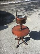 Vintage Wood Smoking Stand With Glass Ash Tray Mid Century Modern Design