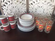 Vintage Coca-cola Gibson Dish Set With Additional Glass Set 27 Piece Set