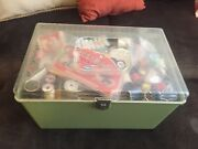 Sewing Kit Antique Vintage Trunk Of Treasures Goodies To Sort Grab Bag Chest