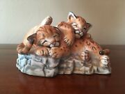 Rare Lenox Nature's Young Collection Played Out Cougar Cubs Cats Figurine 1988