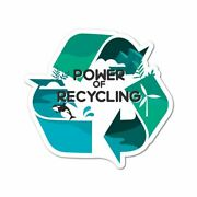 Power Of Recycling Sticker Decal Reuse Recycle Environment Eco Friendly Funny