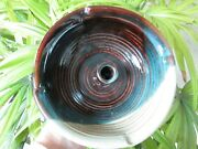 Ikebana Vase 7 Dia Brown Tones Touch Of Blue Ceramic Signed 7 X 2 1/4 Tall Art
