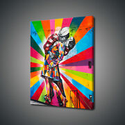 End Of War Kiss Graffiti Canvas Print Picture Wall Art Free Fast Delivery