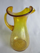 Pitcher Huge Crackle Glass Gold Yellow Vase Marigold Rare Blown Glass Ruffle Top