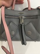Aw17 Moschino Couture Jeremy Scott Gray Leather B-pocket Handbag W/pink And Silver