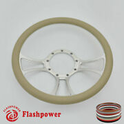 14and039and039 Billet Steering Wheels Tan Street Rod Ford Gm Corvair Impala Chevy Ii Gto