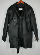 Oscar Piel Black Leather Zippered Hooded Coat / Jacket Size Large New With Tag