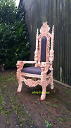 Lion King Gothic Throne Chair For Wedding Seat Tall Chair Raw Look