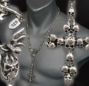 18 46cm 86g Skull Crown Cross Rosary 925 Sterling Silver Mens Necklace Chain