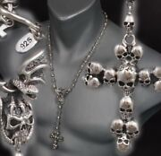 22 56cm 94g Skull Crown Cross Rosary 925 Sterling Silver Mens Necklace Chain