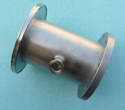 Vacuum Fitting Adapter Stainless Steel Iso Nw200 To 9 8 Bolt Hole W/ Kf25 Bleed