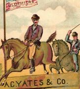 1870's A.c. Yates And Co Clothiers Equestrian Horses American Flag P168