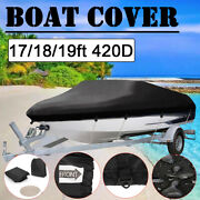 17-19ft 420d Oxford Waterproof Trailable Fish Ski Boat Cover Runabouts V-hull