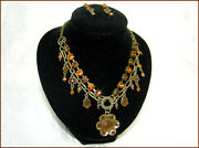 Victorian Style Flower Chain Necklace Stud Earrings Genuine Austrian Crystal New