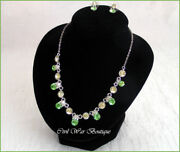 Victorian Style Necklace Stud Earrings Genuine Austrian Crystal New Green Nwt