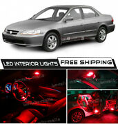 14x Red Car Interior Led Lights Package Kit For 1998- 2002 Honda Accord +tool O5