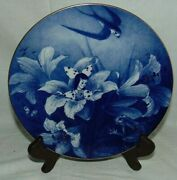 Meissen Fairy Tale Collector Plate Thumbelina 1987 Flow Blue Gold Trim