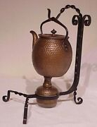 Antique Belgium Arts And Crafts Hammered Copper Tea Kettle, Burner And Iron Stand