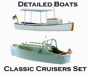 Ho Scale Cruisers Set Model Boat Kits With Pre Assembled Hulls 1/87 Scale