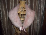 Vintage Pink Dyed Rabbit Collar With Satin Ribbon....for Jacket