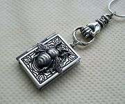Bumblebee Honey Bee Locket Necklace Silver Plated Photo Memory Book Pendant