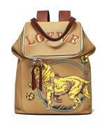 Auth Loewe Brown Denim Leather Goya Lion Backpackout Of Stockno Longer Made