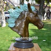 Western Art Deco Bronze Painted Steed Horse Equine Sitting Room Bust Sculpture