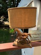 1960's Breyer Wood-grain Running Mare And Foal Lamp Antique-rare