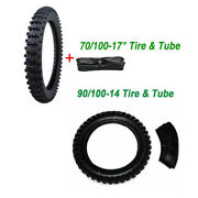 70/100- 17 Front 90/100- 14 Inch Rear Knobby Tyre Tire + Tube Pit Dirt Bike