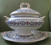 Charles Meigh And Son Sauce Tureen W Platter 1851-61 Ancona Rare Very Good