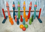 Vintage 18 Pc French Wooden Skittles Bowling Pins Balls Game Set Child's Toy
