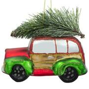 Vintage Car With Artificial Tree Glass Christmas Ornament