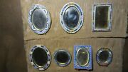Antique Set Of Seven Italian Brass Mosaic Small Picture Frames Made In Italy